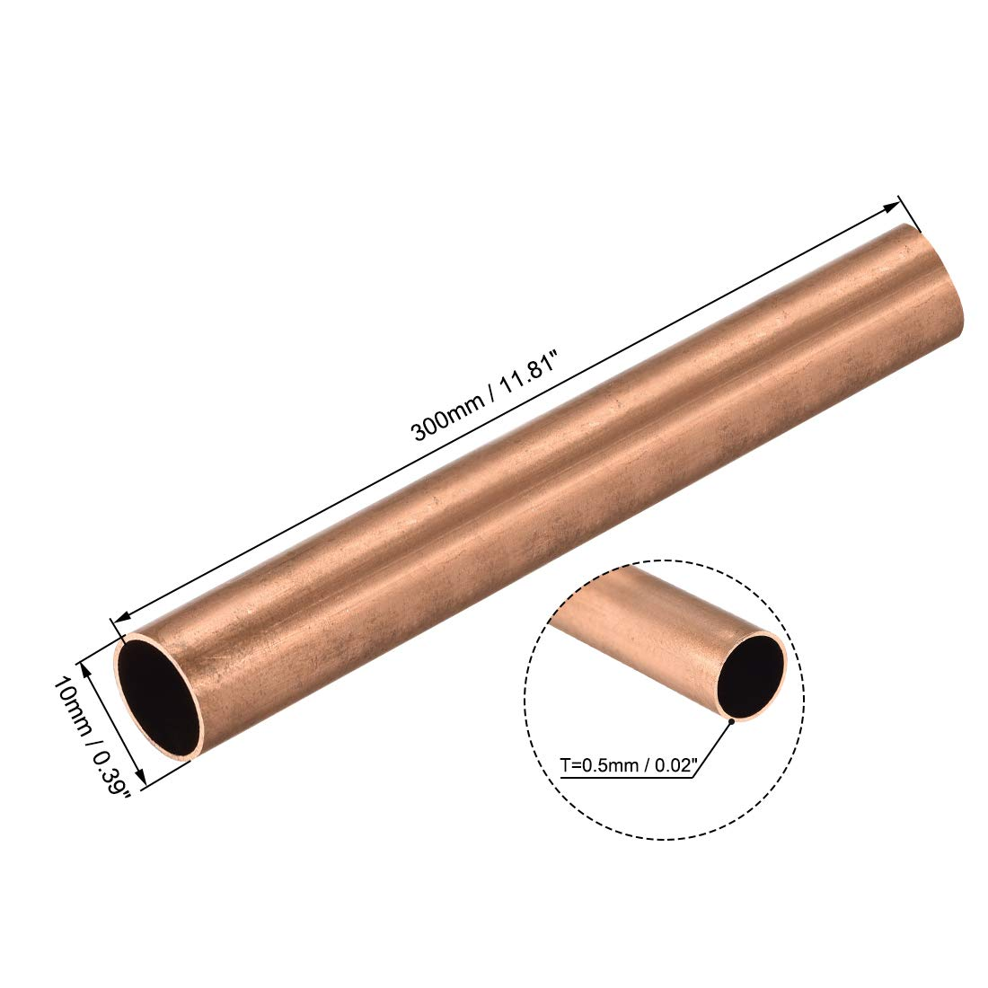Copper Round Tube 3mm OD 0.2mm Wall Thickness 300mm Long Hollow Pipe Tubing