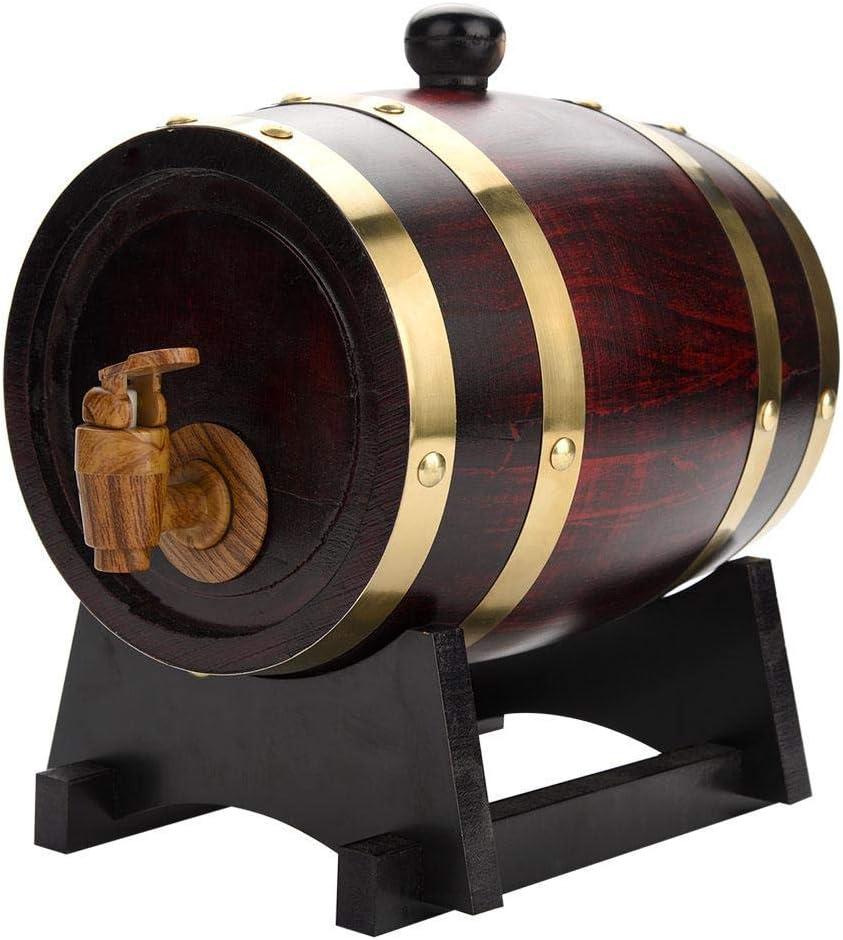 Oak Aging Barrels 3L Whiskey Barrel Dispenser Home Wine Bucket Whiskey Barrel for Wine, Spirits, Beer, and Liquor Retro (with baked oak chips)