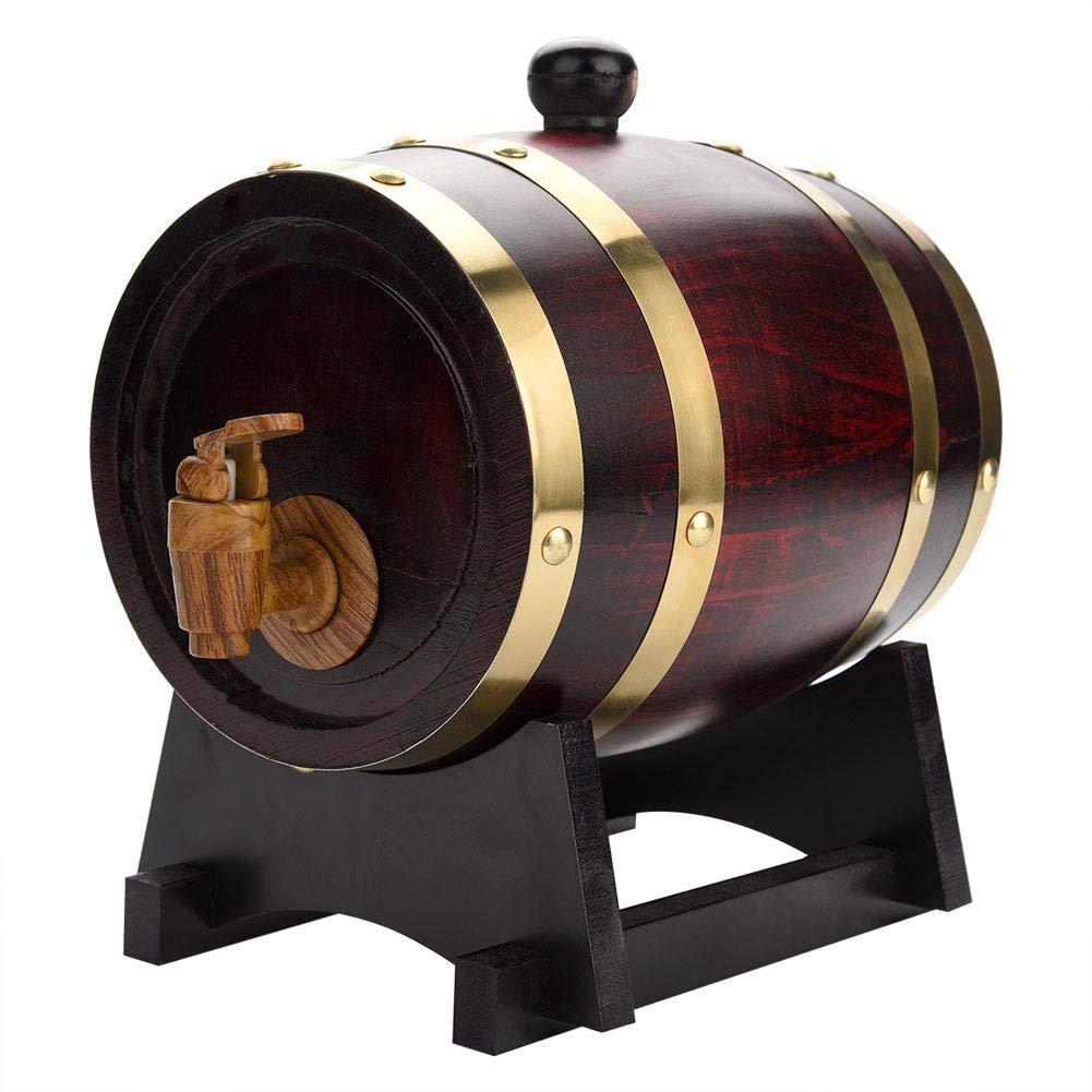 XUM@ Whiskey Wine Barrel,Oak Barrel,Vintage Wood Oak Wine Dispenser Timber with Wood Stand for Storing Wine, Vinegar, Beer,1.5L