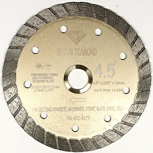 ALSKAR DIAMOND ADLSC 4-1/2 inch Dry or Wet Cutting General Purpose Continuous Turbo Power Saw Diamond Blades for Concrete Masonry Brick Stone (4.5