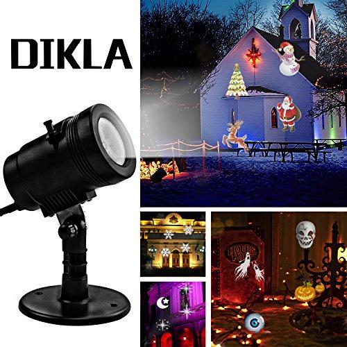 DIKLA LED Projector Light 14 Slides Spotlight Projector for Garden Ground Motion Halloween Lights for Outdoor Indoor Decoration