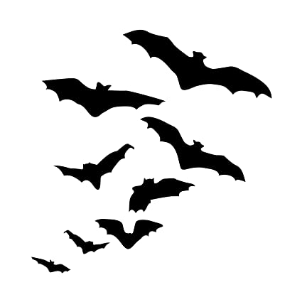silhouette of flock flying bats halloween decor wall decal custom vinyl art stickers