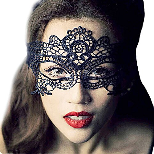 Rubility Sexy Lingerie Queen Fun Play Accessories Exotic Apparel Sexy Costume Halloween Party Masks Black Lace Hollow Mask (Catwoman Halloween Costume Cheap)