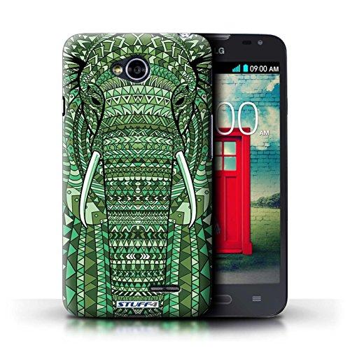 Kobalt® Imprimé Etui / Coque pour LG L70/D320 / éléphant-Vert conception / Série Motif Animaux Aztec