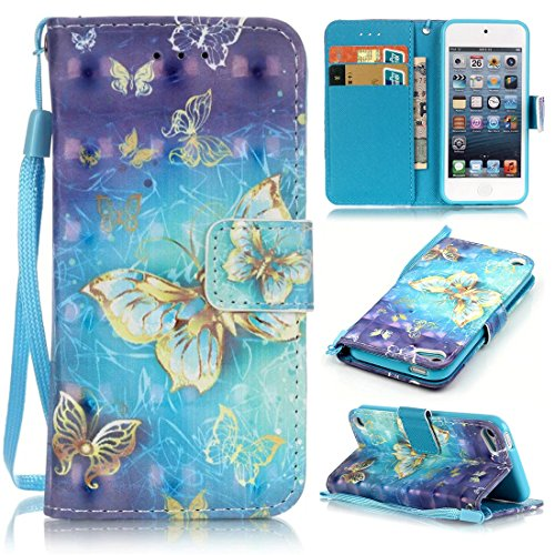iPod Touch 6 Case, iPod Touch 5 Case, Lwaisy [Wrist Strap] [Stand Feature] Premium PU Leather Wallet Phone Case Flip Cover Built-in Card Slots for Apple iPod Touch 5 6th Generation (Gold Butterfly)