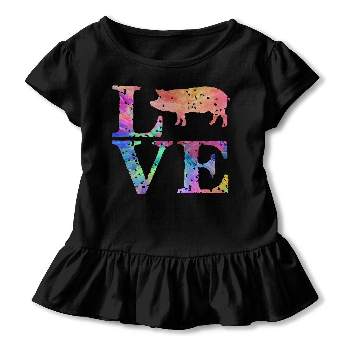 Colorful Distress Love Pig Toddler Baby Girls Short Sleeve Ruffle T-Shirt