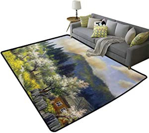 Lakehouse Decor Collection Area Rugs for Living Room Retro Village House in a Small Grass Garden by Trees with Flowers Mountain Picture Feel Comfortable Olive White Blue, 6'x 7'(180x210cm)