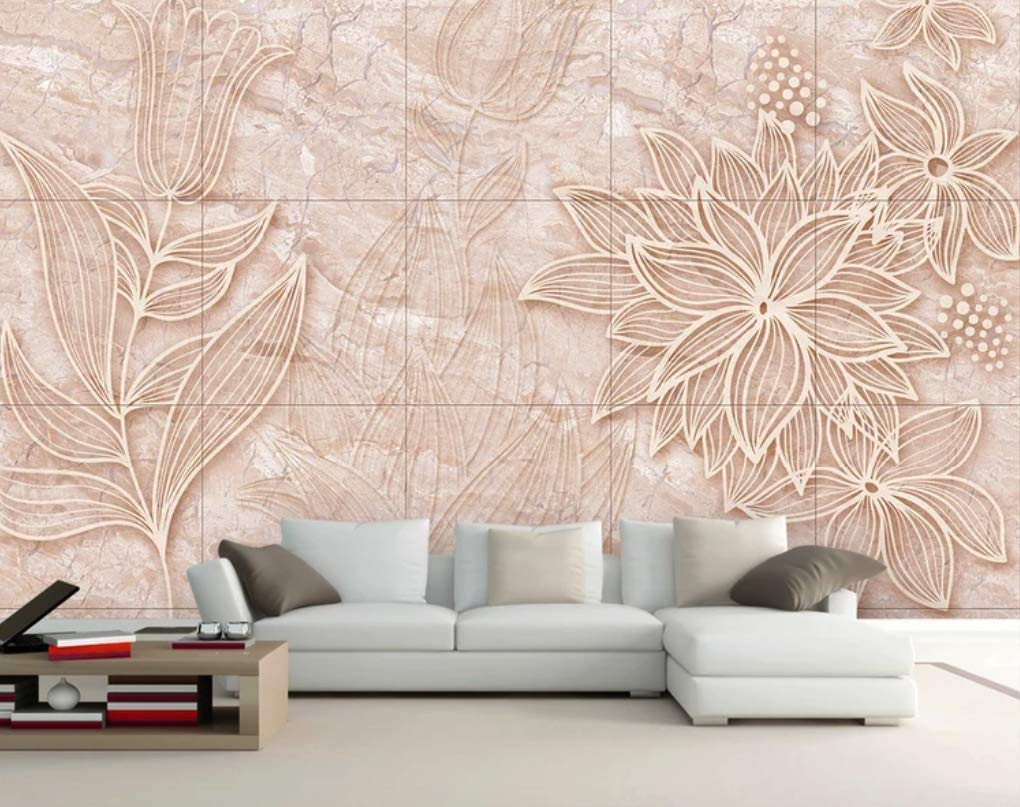 Amazon Com Murwall Floral Wallpaper Gold Marble Wall Mural