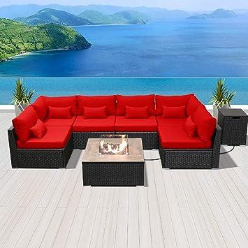 Modenzi Salon de Jardin avec Foyer en Propane, Table en ...