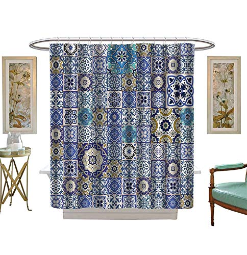 Gorgeous Eyelet (Shower Curtains Mildew Resistant Mega Gorgeous Seamless Patchwork Pattern from Colorful Moroccan Tiles,Ornaments Used Wallpaper Satin Fabric Bathroom Washable Size:W54 x L72 inch)