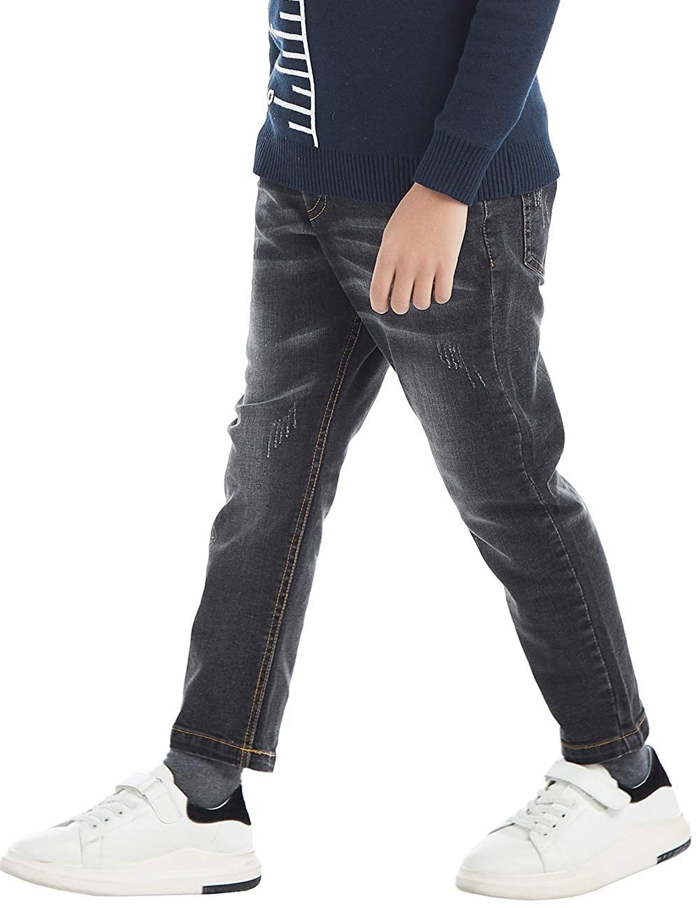 BYCR Boys/' Skinny Elastic Waist Denim Jeans Pull On Pants for Kids Age 4-16 Years