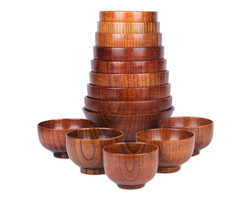 Funy Wooden Bowl for Serving Rice Soup Miso/Round Salad Bowls, Jujube Wood Bowls (9.5cm)