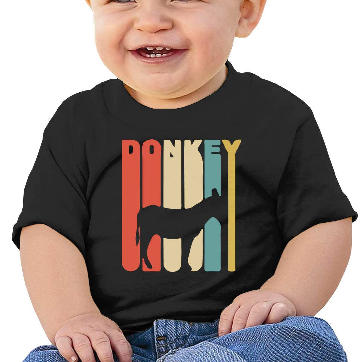 Retro Donkey Newborn Baby Newborn Short Sleeve T Shirts 6-24 Month Soft Tops