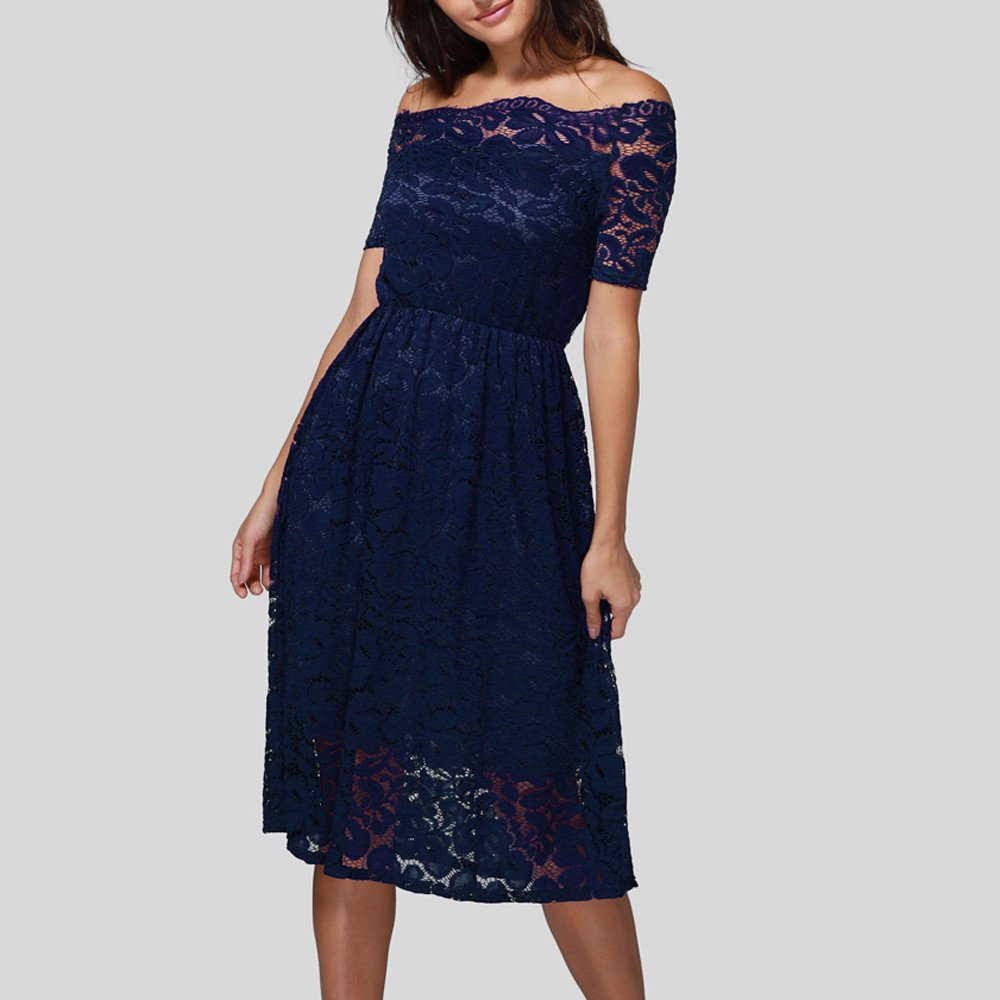 GOWOM Women Dress Vintage Off Shoulder Lace Formal  Evening Party Short Sleeve Dress(Navy,XX-Large) by GOWOM (Image #5)