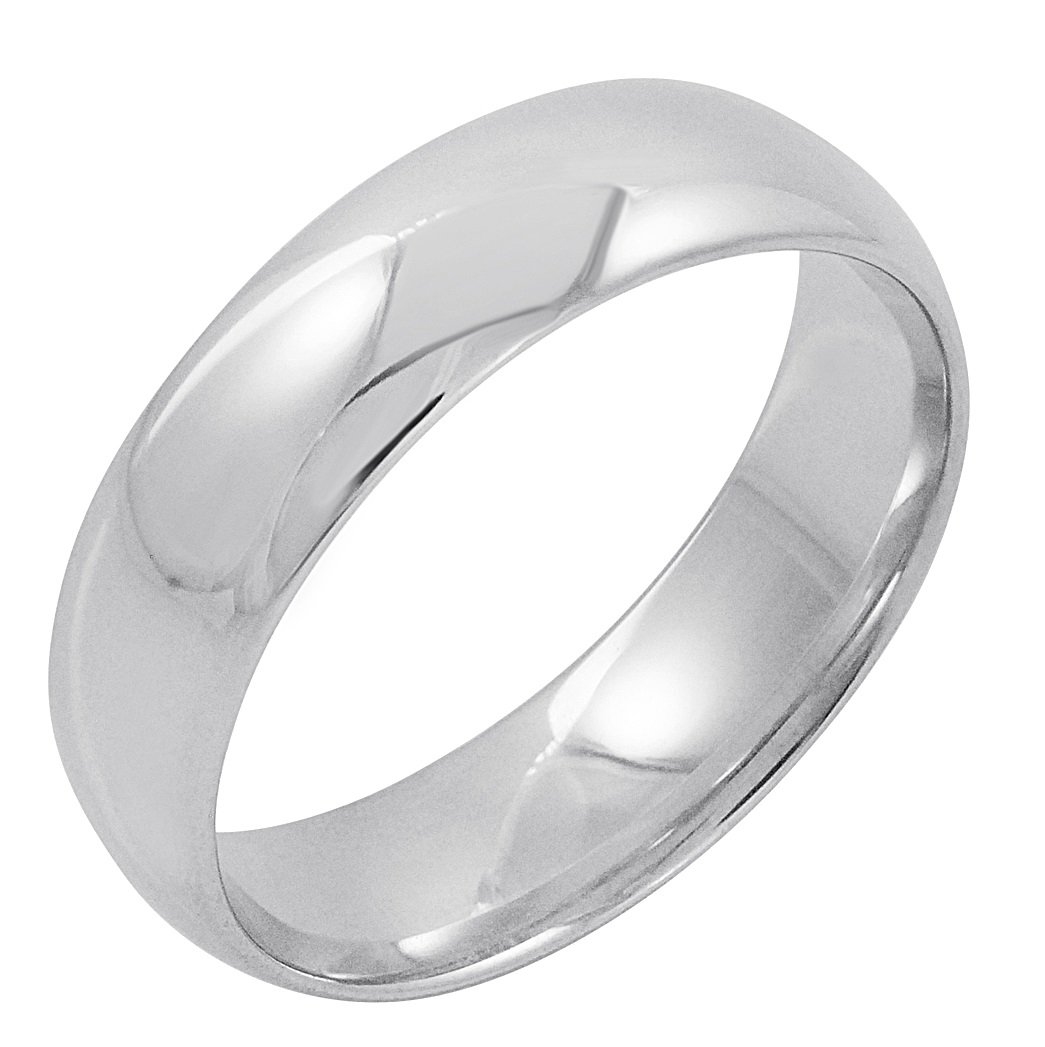 Men's 10K White Gold 6mm Comfort Fit Plain Wedding Band (Available Ring Sizes 8-12 1/2) Size 9