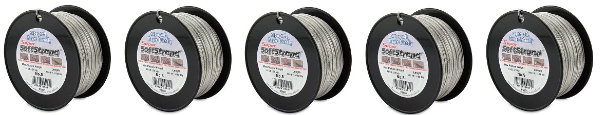 SuperSoftstrand 500-Feet Picture Wire Vinyl Coated Stranded Stainless Steel (5-Pack)