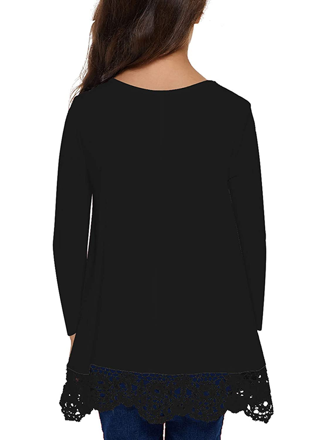 QUEEN PLUS Long Sleeve Blouse for Girls Lace Round Neck Tops Casual Tee Shirts