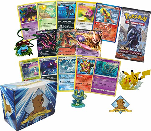 (100 Pokemon Cards with 2 EX Ultra Rares! Rares Holos 1 Pokemon Booster Pack and 1 Pokemon Figure! Includes Golden Groundhog Storage Box!)