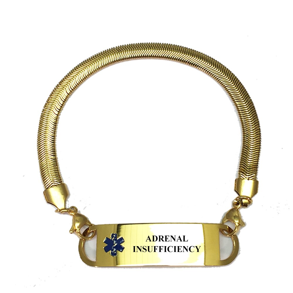Pre-engraved Gold Plated Chevron Pattern Adrenal Insufficiency Medical ID Bracelets For Women