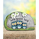 Bright,Captivating and Adorable Love Grows Here Triple Owl Statue,Perfect Addition to Any Garden Where Flowers Bloom and Love Grows