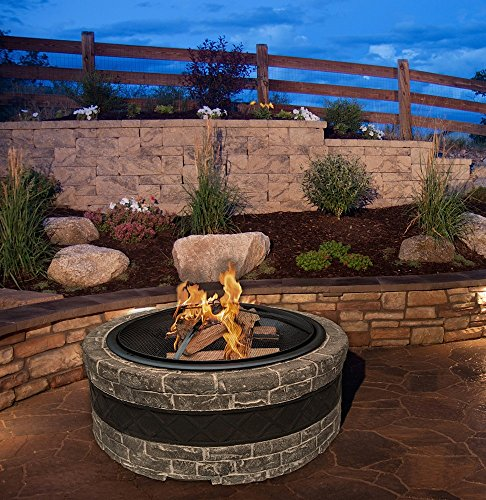 Cast Stone Wood Burning Fire Pit 35″ Diameter Steel Base w/ 26″ Mesh Screen Spark Protector w/ Lift Hook, Large Heat Resistant Fire Bowl, Appealing Dark Gray Simulated Stone Base