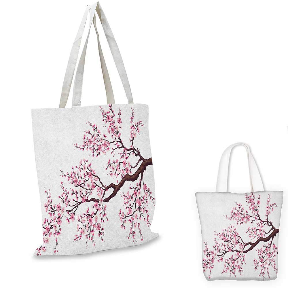 12x15-10 Japanese canvas messenger bag Blooming Sakura Cherry Branches Chinese Asian Oriental Kimono Pattern canvas beach bag Purple Rose Fern Green