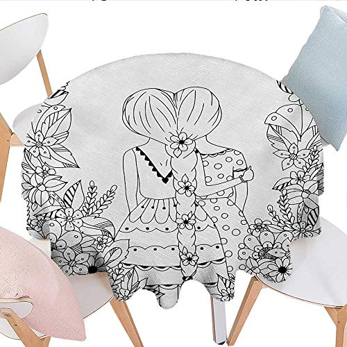 Doodle, Tablecloth For Kitchen Dining Tabletop, Girlfriends with Conjoined Ponytails Hugging Friendship Coloring Book Style Design, for Kitchen Dinning Tabletop Linen Decor, (Round, 50 Inch, Black Wh]()