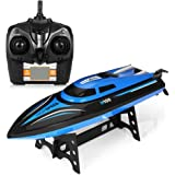 GBlife Remote Control RC Boat 2.4GHz High Speed Electric Racing Boat for Pools and Lakes 180° Flipping Transmitter with LCD Screen (Blue)