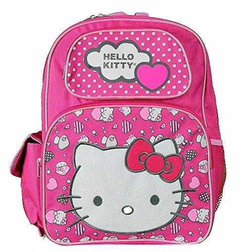 "Hello Kitty Hearts & Dots Pink Backpack 17"" School Bag BP..."