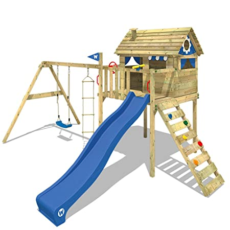 WICKEY Stilt house Smart Plaza treehouse climbing frame with slide ...
