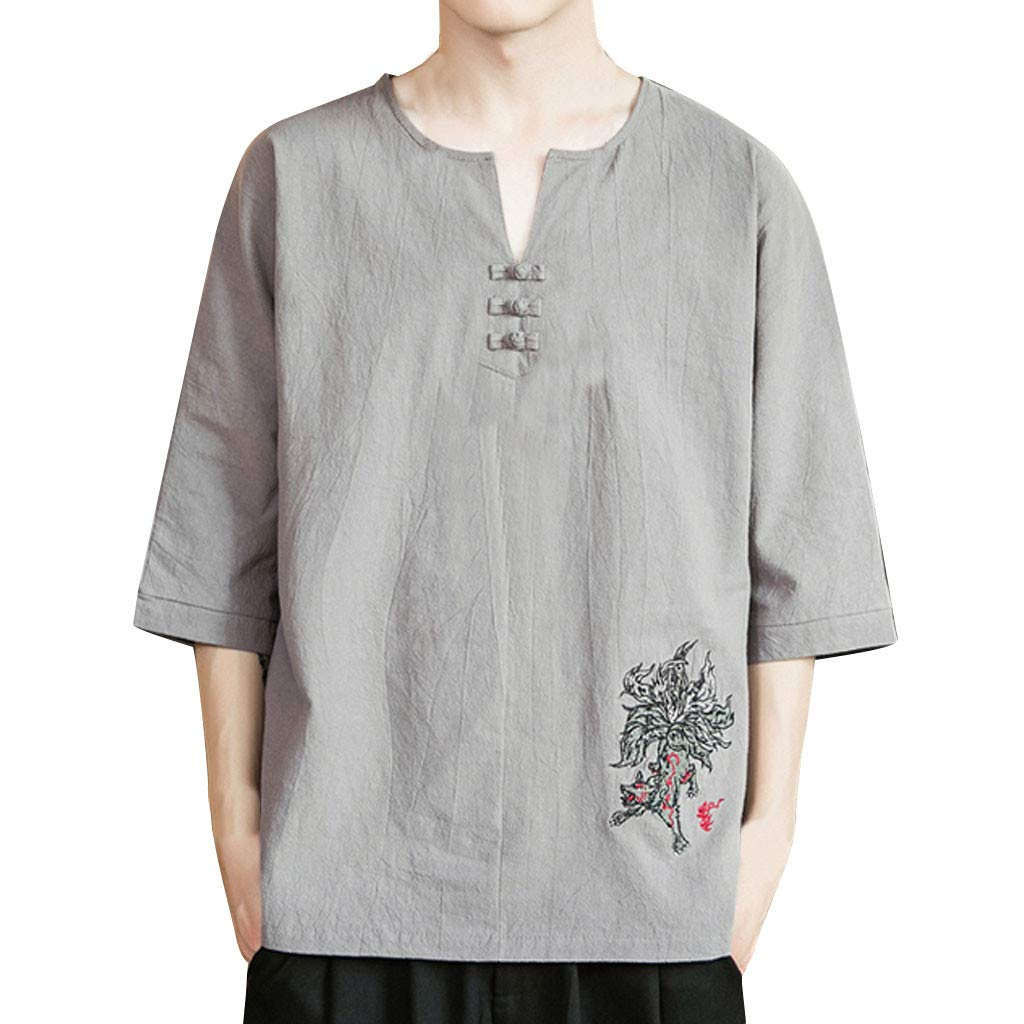 YOMXL Men's Casual Tee Cotton Linen V Neck Floral Embroidery T Shirts Button Decor Loose Fit Tops Gray by YOMXL