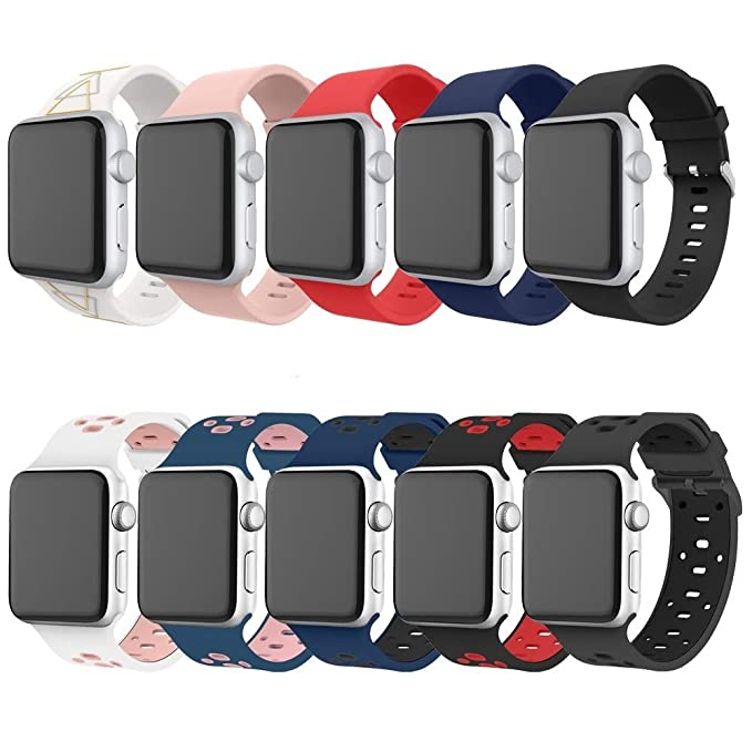 Alritz for Apple Watch Series 3 Band 42mm, [10 Pack] Soft Silicone Strap  Replacement Wristband with Stainless Steel Buckle for Apple Watch Series ...