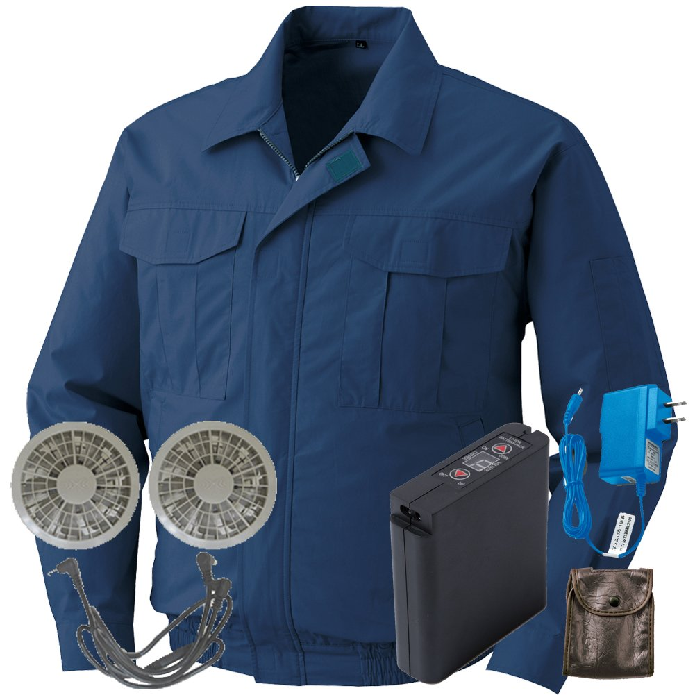 空調服 セット[KU90550ブルゾン+FAN2200グレーファン+LI-ULTRAIリチウムバッテリー] B077XTB496 L|14 ダークブルー 14 ダークブルー L