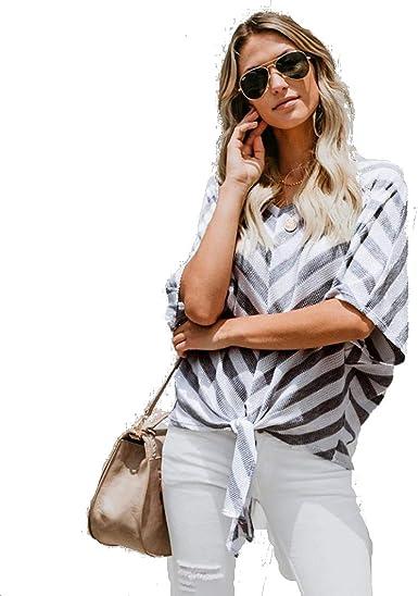 STRIR-Ropa Blusa Mujer Elegante Sexy 2018 Camiseta de Mujer a Rayas con Hombros Descubiertos Camisetas Casuales de Manga Corta Tops Blusa de Corbata Blusas sin Tirantes de Niña (S, Gris): Amazon.es: Ropa