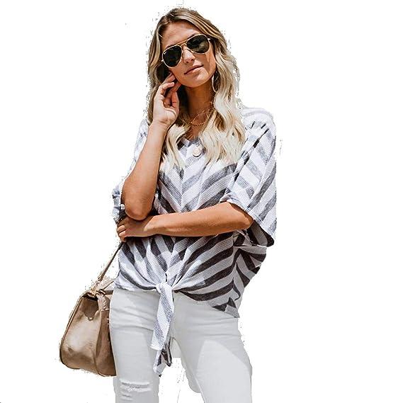 STRIR-Ropa Blusa Mujer Elegante Sexy 2018 Camiseta de Mujer a Rayas con  Hombros Descubiertos f037b335f693