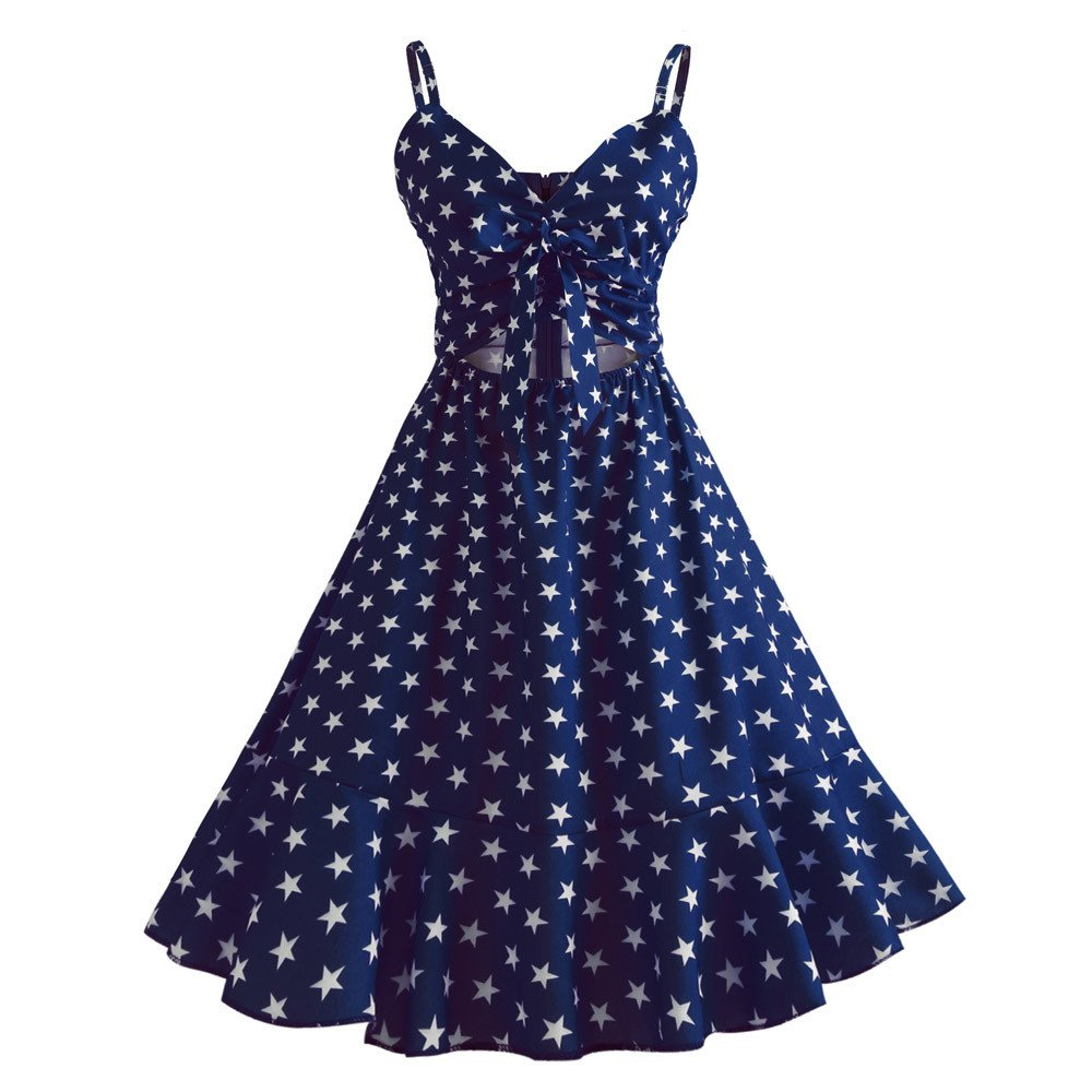 Dressffe Women Star Print Sleeveless Summer Dress, V-neck A-Line (XL, Dark Blue)