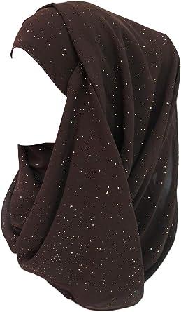 Lina /& Lily Shimmer Gold Glitters Chiffon Hijab Scarf
