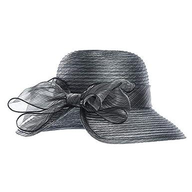 78a6e42c04be8 Yarn Church Hats for Women Big Bow Feather Flower Summer Sun Protect Hat  Elegant Fedoras Wedding Sea Beach (Dark Grey) at Amazon Women s Clothing  store