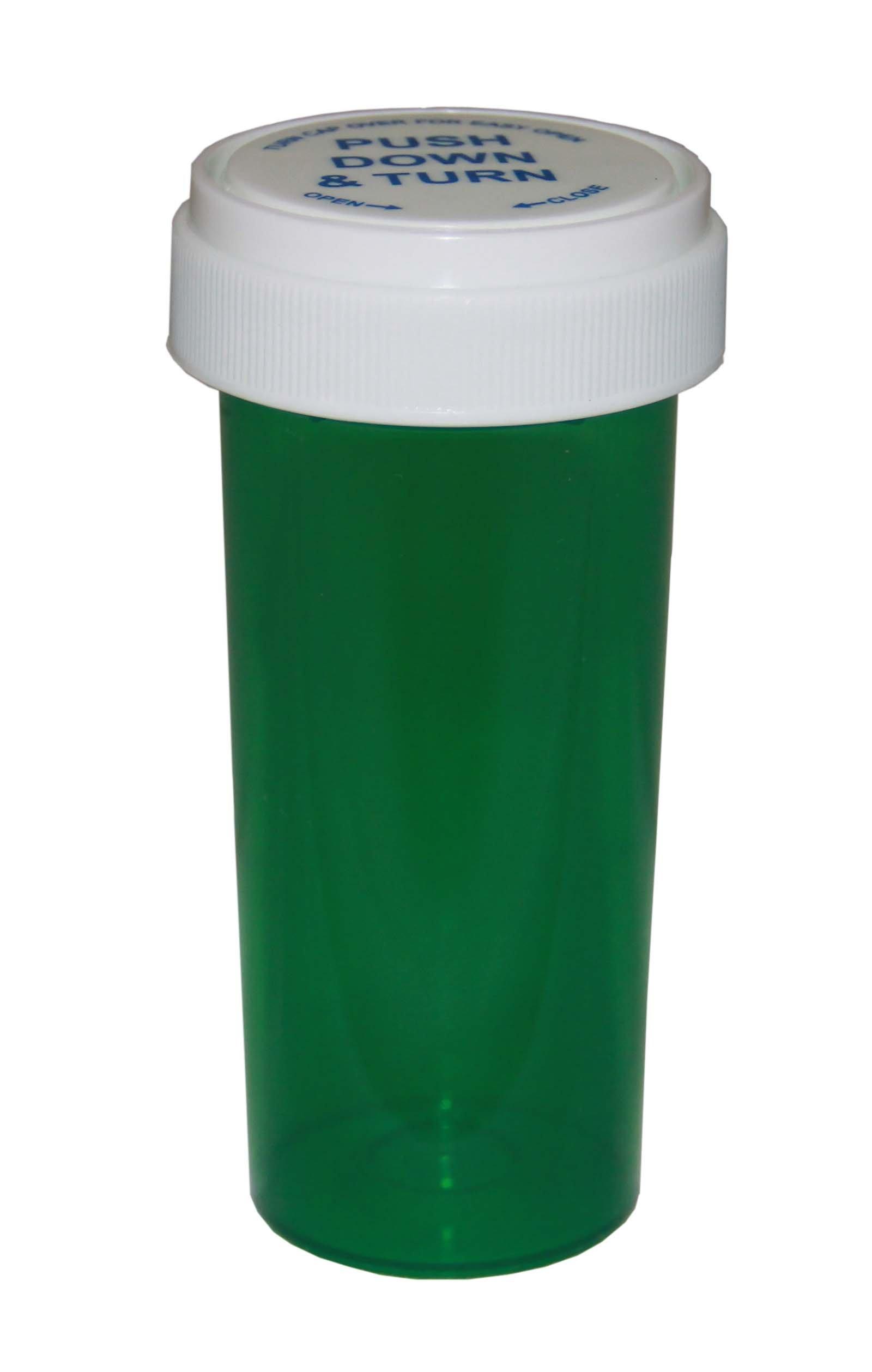 Prescription Pharmacy Vials - Green Child Resistant Medicine Bottle -40 Dram- Reversible Caps-Pack of 130 -Medicine & Pill Container, Pharmacy Bottle, Pharmacy Container, Plastic Container