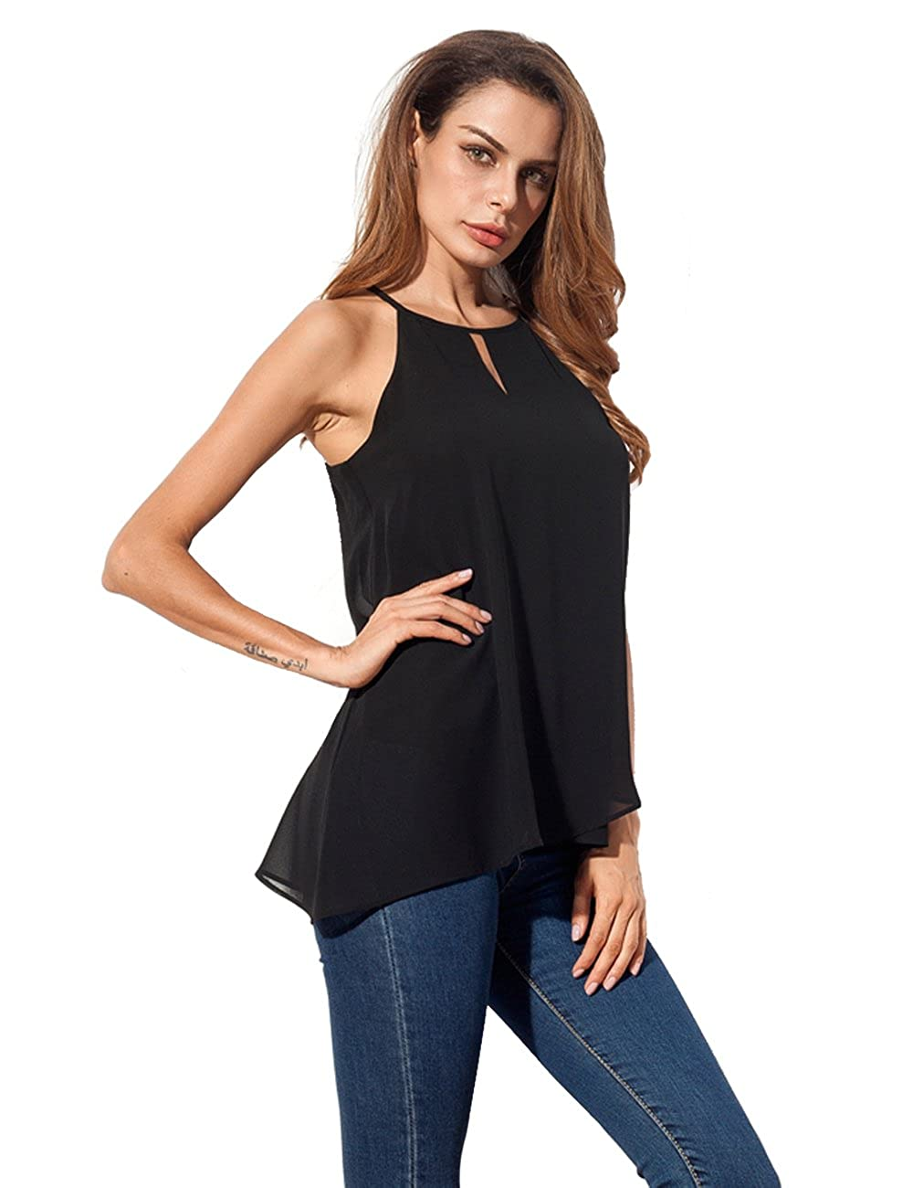 5133be71780614 Amazon.com  Womens Chiffon Tank Tops Flowy Casual Halter Loose Sleeveless  Shirts  Clothing