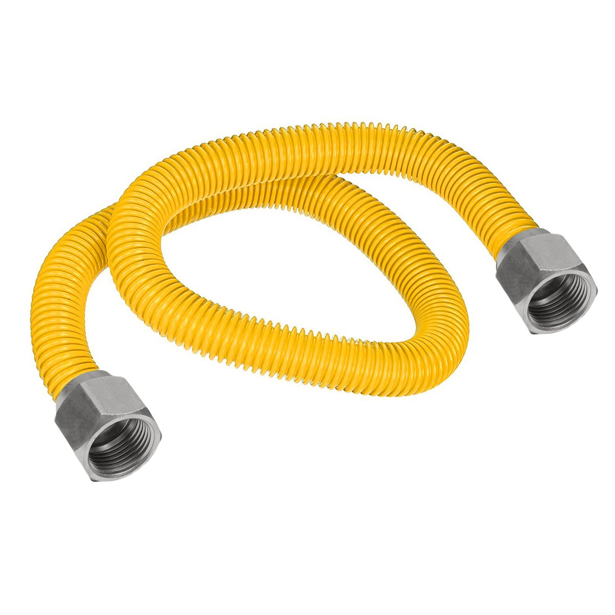 Flextron FTGC-YC38-12 10'' Flexible Epoxy Coated Gas Line Connector with 1/2'' Outer Diameter and Nut Fittings, Yellow/Stainless Steel