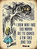 "Alice in Wonderland ""I knew who I was this Morning"" Cheshire Cat Vintage Style Metal Wall Plaque Sign"