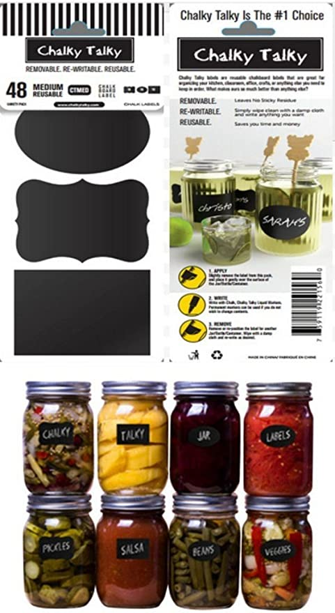 amazon com chalky talky variety mason chalkboard labels 48