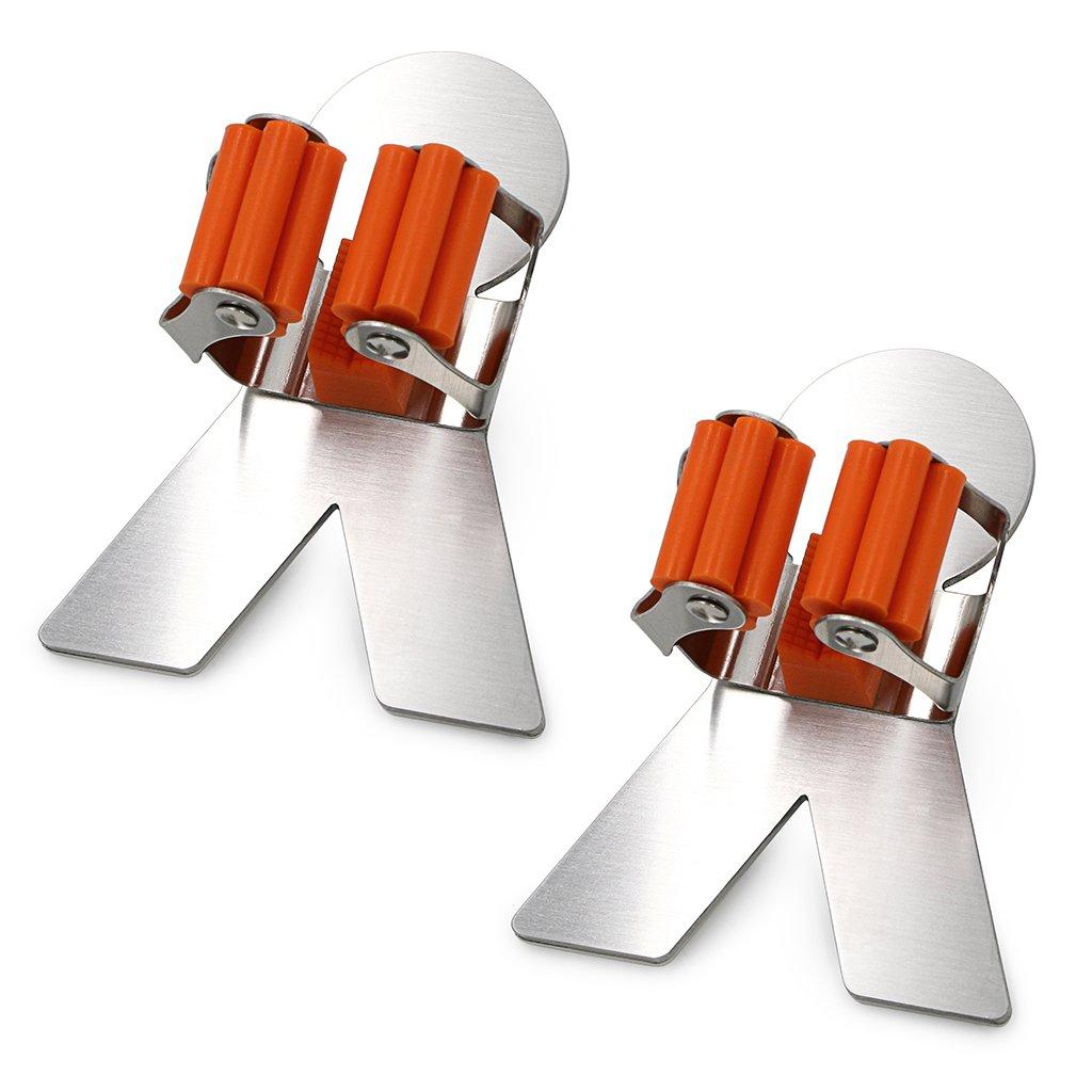 Sumnacon Mop Broom Holder Organizer, 2 Pcs 3M Self Adhesive Wall Mounted Mop Hooks Broom Hanger Holder with Spring Clip Design Bath Mounted Home Tools/Kitchen Organizer Rack (Herringbone)