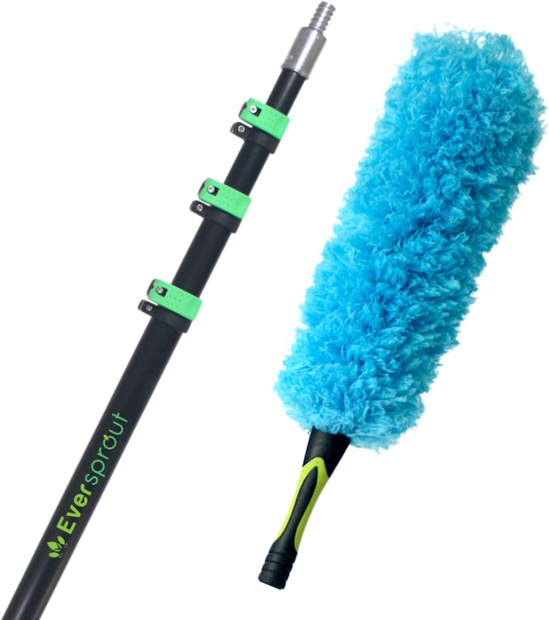 EVERSPROUT 7-to-26 Foot Flexible Microfiber Feather Duster and Extension Pole Combo (30+ Foot Reach) | Heavy Duty, High-Grade Aluminum, 4-Stage Telescopic Pole | Extra Long 24-inch Feather Duster
