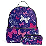 School Backpack Bag Pencil Case Beautiful Butterflies Pink Purple Blue White for Teen Girls Boys Students