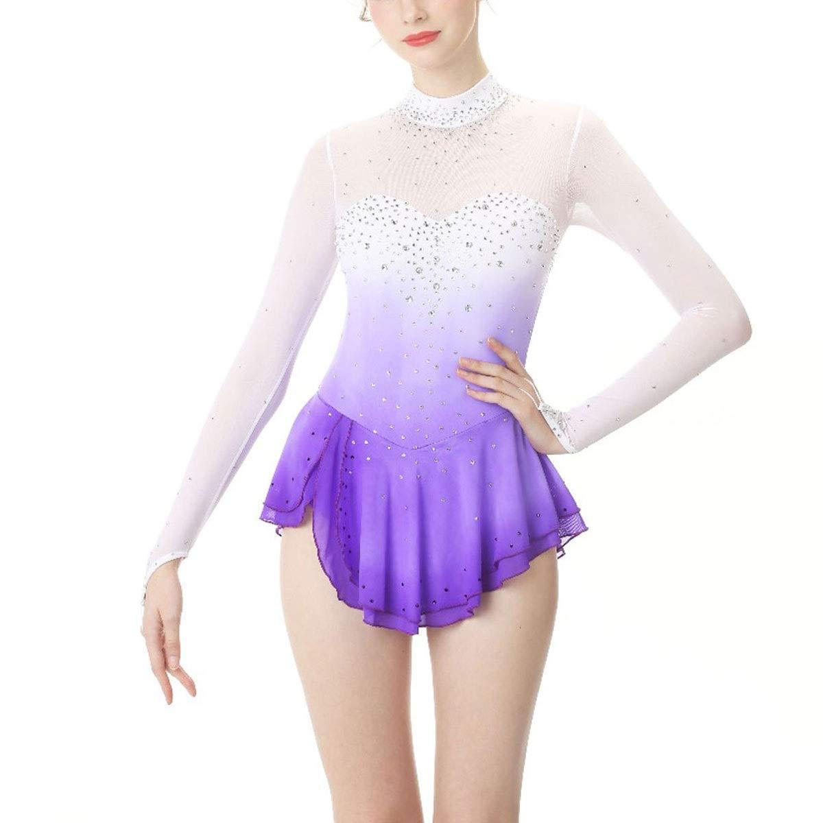 フィギュアスケートドレスレディース/女の子用アイススケートドレスパープルヘイロー染色 パープル M