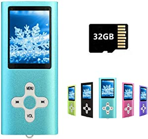 MP3 Player MP4 Player with a 32GB Micro SD Card, Runying Portable Music Player Support up to 64GB, Blue