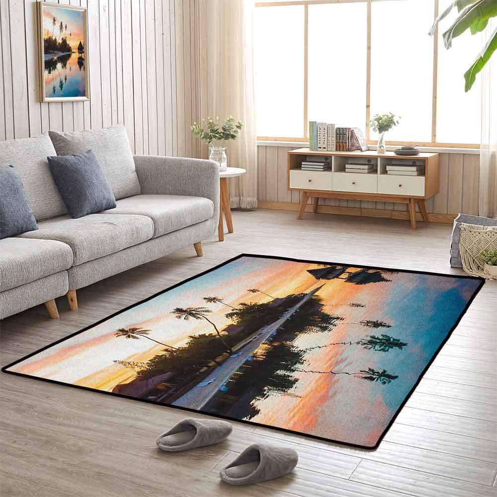 Floor Area Rug, Anti-Skid Large Area Rugs Versatility, Warm and CoZy for Bedroom Floor, Tropical | Tropical Sunset Moorea French Polynesia Reflection Resort Scenic Waterscape - 6'x9' Yellow Coral Blue