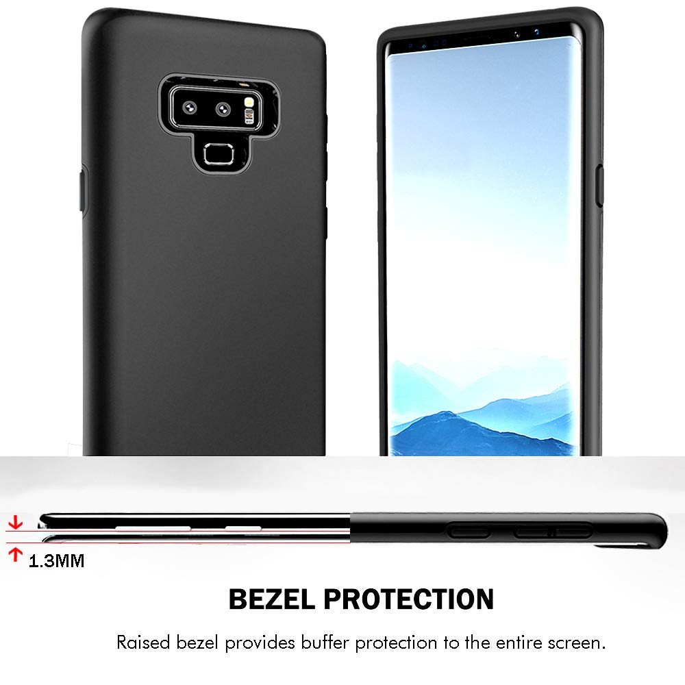 Galaxy Note 9 Case, Androgate Hybrid Matte Protective Shock Absorption Back Cover Bumper Case with Full Coverage Screen Protector for Samsung Galaxy Note9, Black